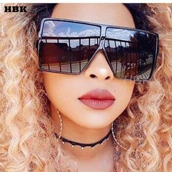 Hbk特大スクエアサングラス女性ファッション勾配レンズサングラス女性ブランドの高級黒ヒョウシェードuv400