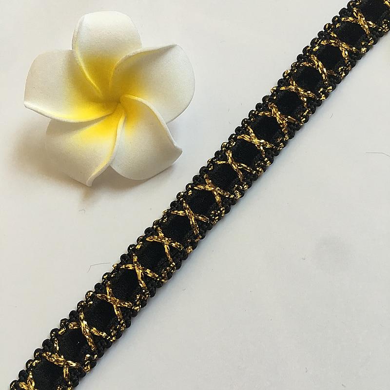 Width 11mm gold and black polyester corrugated braided lash Crochet ribbon villi lace trim ZD061