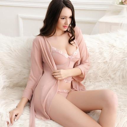 Lisacmvpnel 3 Pcs Lace Sexy Women Robe+Nightgown+G-String  Robe Set Long Section Breathable Women Bathrobe