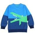 Мальчики Зима Кардиган детский мультфильм Крокодил трикотажные лоскутное пуловеры свитер дети зима hotsale потяните филь кардиган