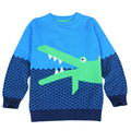 Boys Winter Cardigan childrens cartoon Crocodile knitted patchwork pullovers sweater kids winter hotsale pull fille cardigan