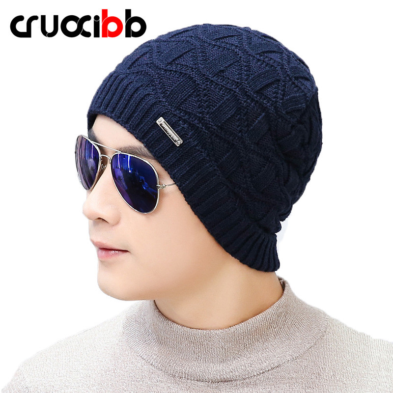 все цены на Men's Winter Hat Cotton Knitted Hats Unisex Warm Beanie Skullies Caps for Hunting Cap Brand Super Quality New Arrivals Snow Ski онлайн