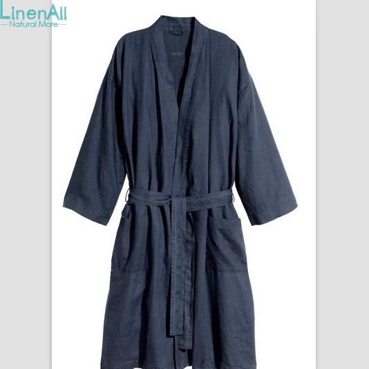 LinenAll womens sleep robes,100% pure linen water wash bathrobes for hm linen bathrobe h ...