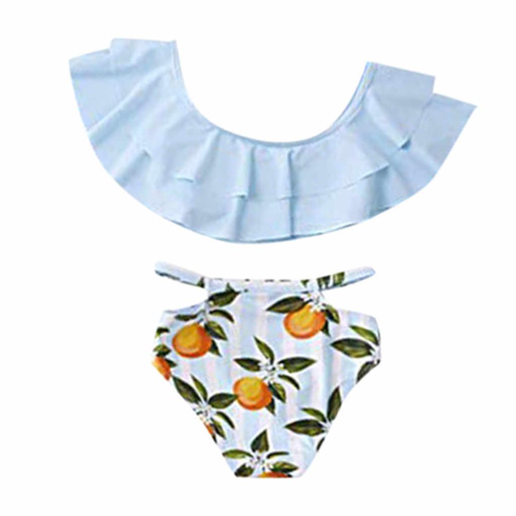 Семейные купальные купальники бикини с принтом для девочек, детский купальник без рукавов с фруктовым принтом, Раздельный купальник, платье для родителей и ребенка, A3042