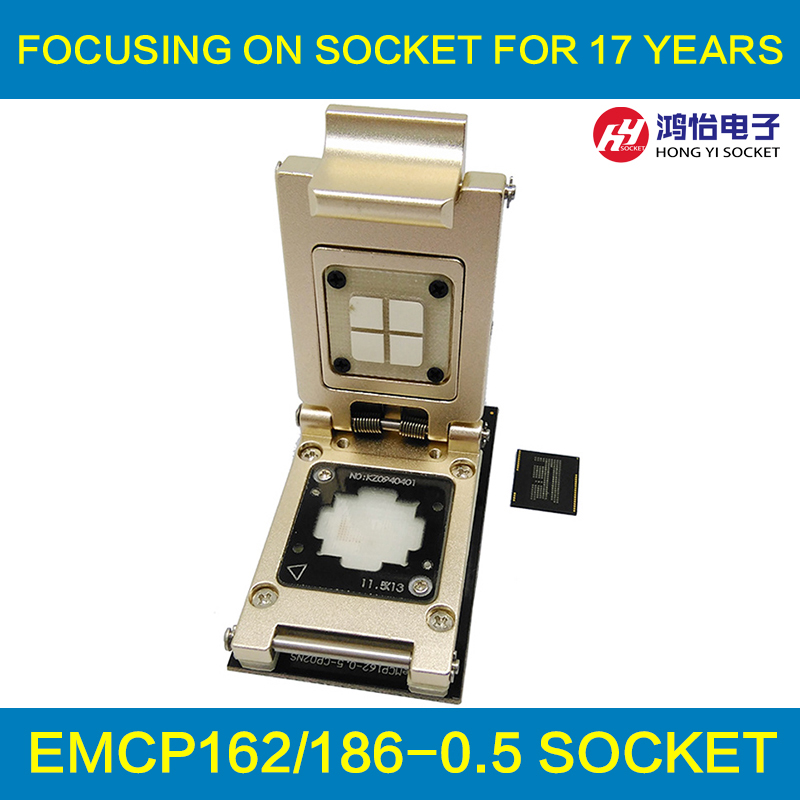 eMCP Pogo Pin test Socket with SD interface,Nand flash BGA186 BGA162 size 11.5x13 Pitch 0.5mm aluminium alloy clamshell  emcp socket with sd interface for bga 221 testing size 11 5x13mm nand flash programmer clamshell structure