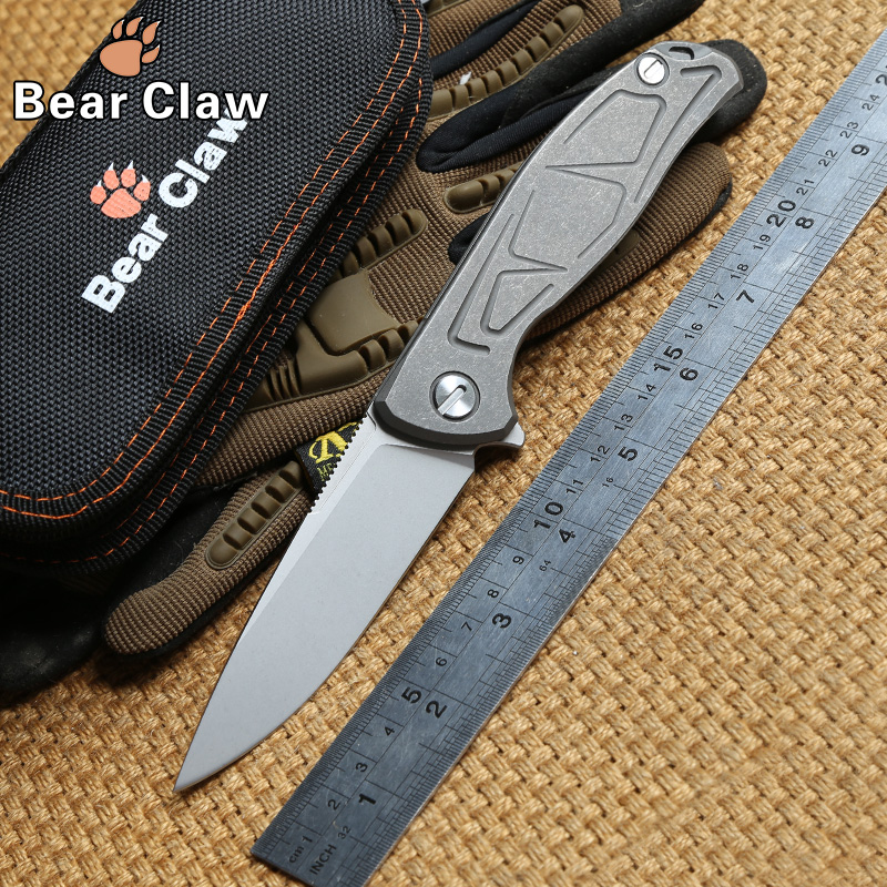 Bear Claw F95 Tactical Flipper folding knife ball bearing D2 blade TC4 Titanium handle outdoor survival camping knives EDC tools vellance a2 folding blade pocket knives m390 vg10 blade titanium handle ball bearing knife tactical camping survival knife tools
