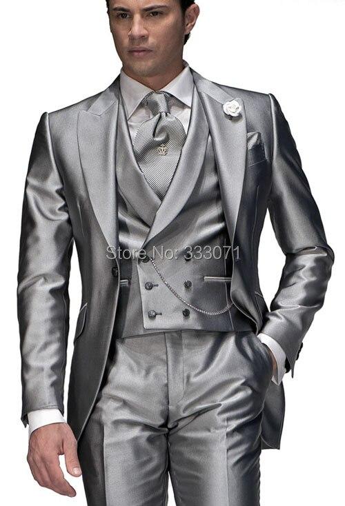2015 Custom tailor measurement Slim Fit Shiny Silver Groom Tuxedos ...