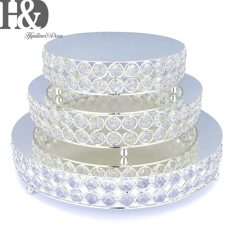 H D Set of 3 Crystal Cake Stand Gold Mirror Surface Cupcake Stand Dessert Table Wedding