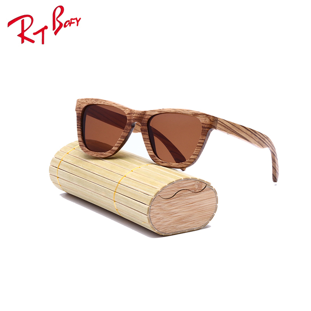 RTBOFY Brand New Fashion Products Men Women Glass zebra Wood Polarized Sunglasses Retro Wood Lens Wooden Frame Handmade