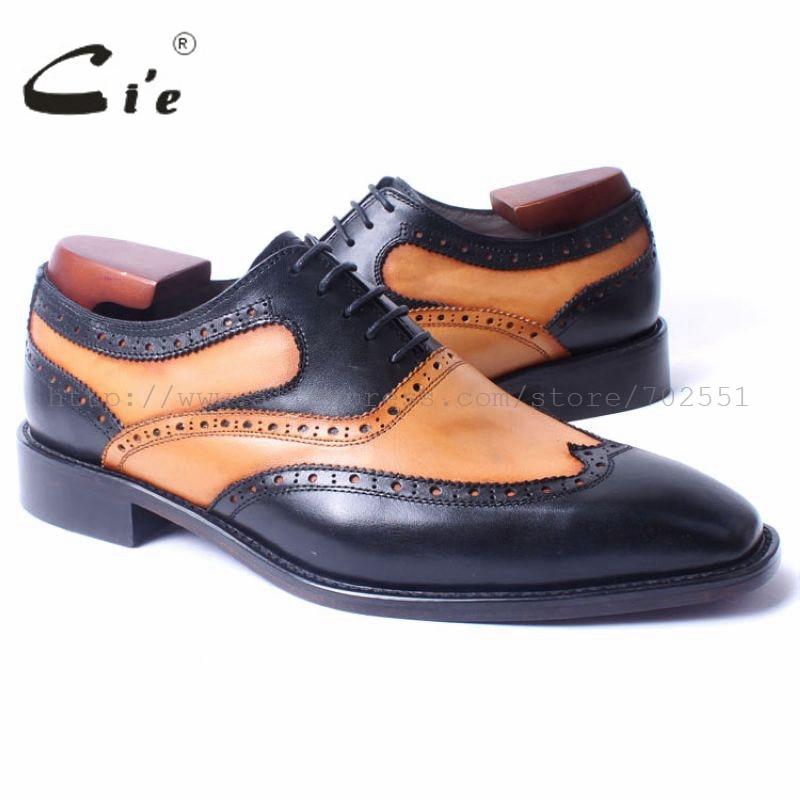 cie Square Toe Wing-Tips Brown Black Matching Lace-Up Handmade 100%Genuine Calf Leather Blake(Mackay) Craft Oxford Men Shoe OX цены онлайн
