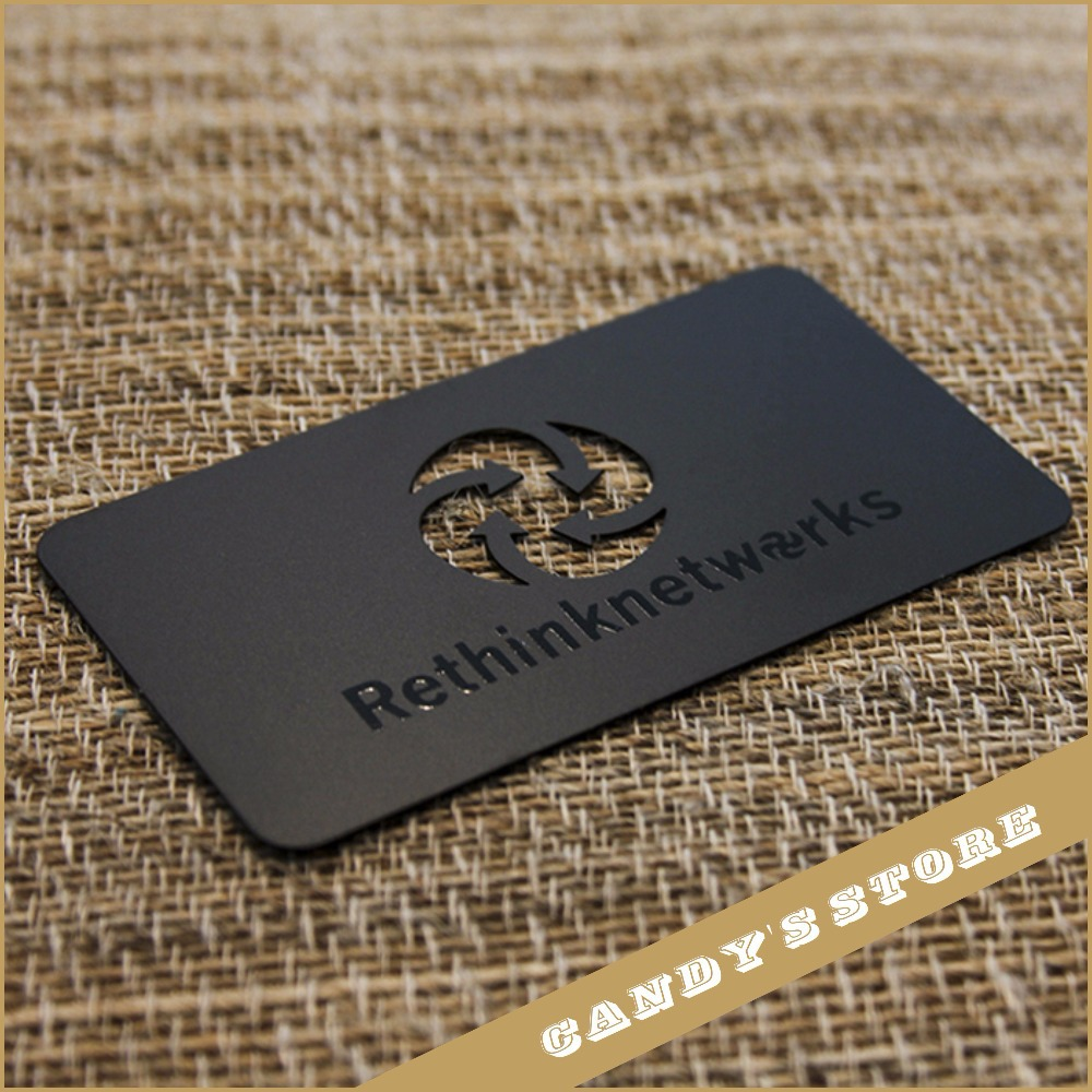 Custom business card 100pcs Black Metal Business Card With CUTOUT ...