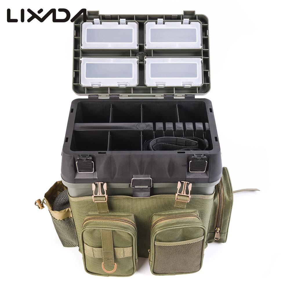 Lixada Multifunctional Fishing Bag 600D oxford cloth Fishing Tackle Box Gear backpack Tackle Box Storage Shoulder