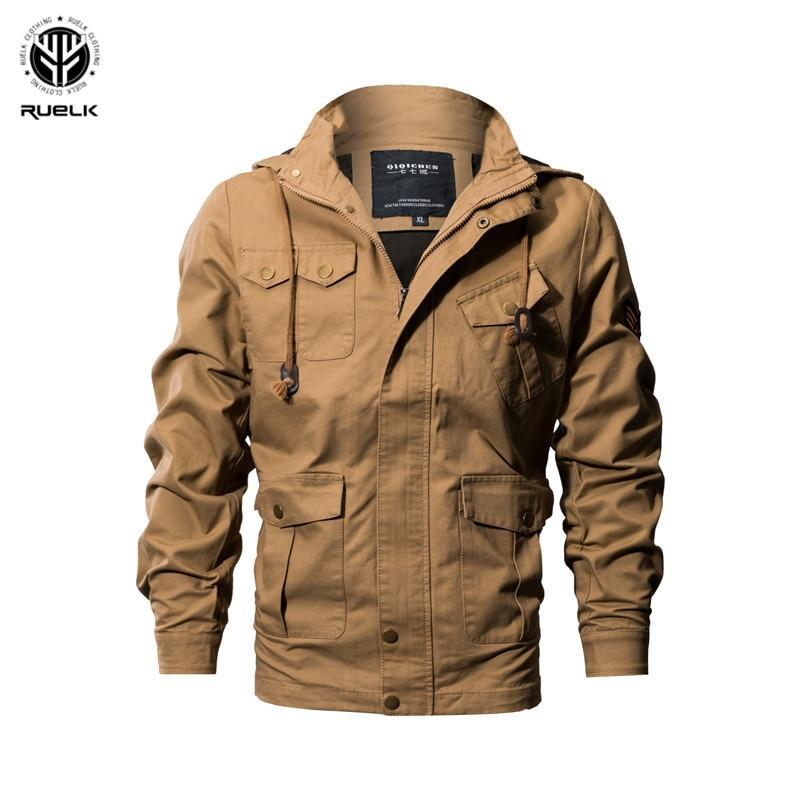 RUELK NOUVELLE de haute qualité veste militaire Britannique style tempérament Slim grande taille mens vestes armée multi-poches coton veste