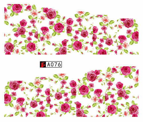Rose Flower Vine for DIY Nails Toes Decorations Water Transfer Sticker Nail Art Decals