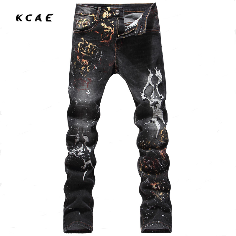 High Quality Fashion Men Jeans Casual Pants Ripped Jeans For Men Black Printed Jeans,Cotton Size 28-38