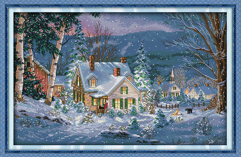 The Snowy Night of Christmas Pattern Counted Cross Stitch Sets DMC Cross Stitch DIY Cross Stitch Kit for Embroidery Needlework