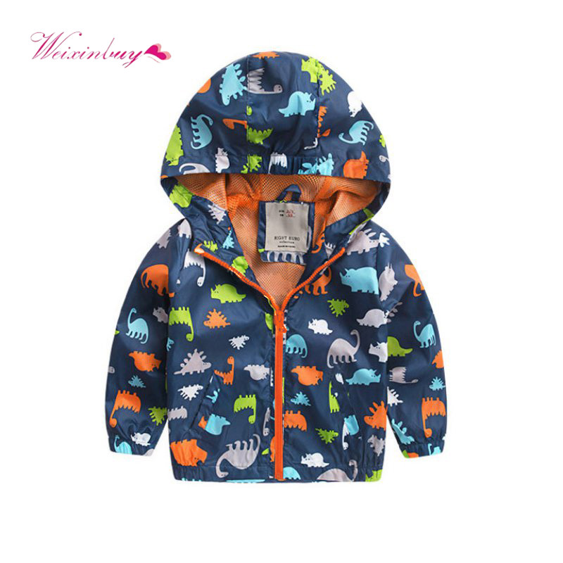 Kids Boys Hoodies Dinosaur Jacket Zipper Lightweight Windbreaker Long Sleeve Casual Top Toddler Boy Jumper 1-7 Years