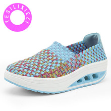 New Fashion Women Woven Shoes Hand-knitted Breathable Health Lightweight Casual Non-slip Insole Slip-on for Ladies