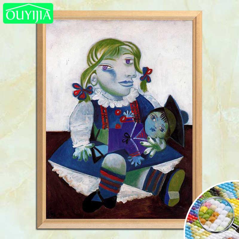 Pablo Picasso Unlu Resim Maya Ve Bebekler 5d Diy Elmas Boyama