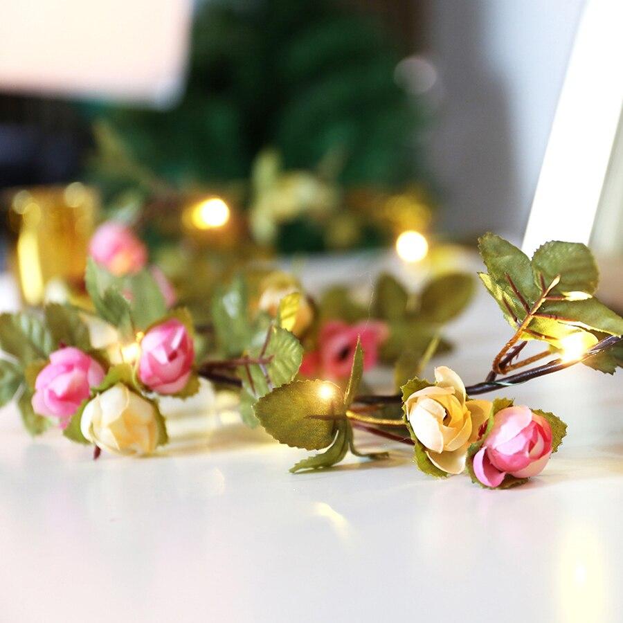 artificial seda rosa flor videira folhas guirlanda decoração casamento