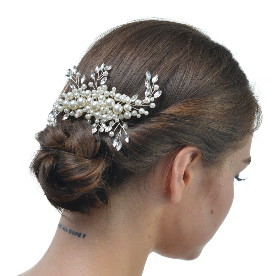 Bridesbridesmaids wedding hair comb with ivory pearl beads and diamant\u00e9\u2019s on a silver hair comb