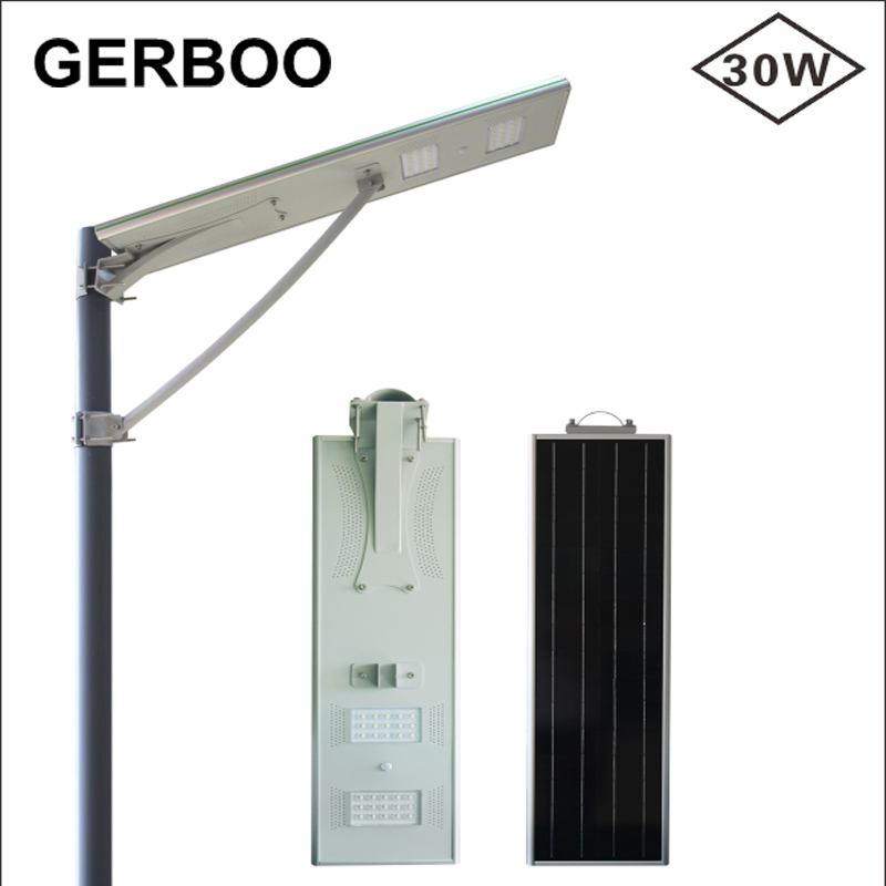 2017 New Design CE RoHS IP66 Rotatable 30W Solar Street Lights All In One With PIR Motion