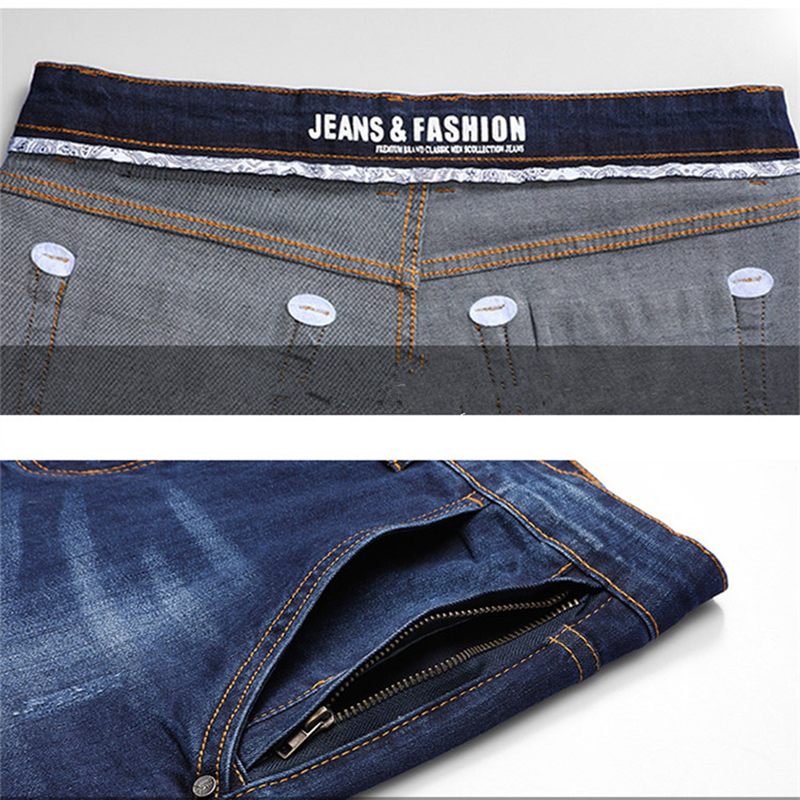 Utmeon Brand New Jeans Men's 2019 Loose Straight Elastic Jeans Anti-Theft Zipper Denim Pants Male