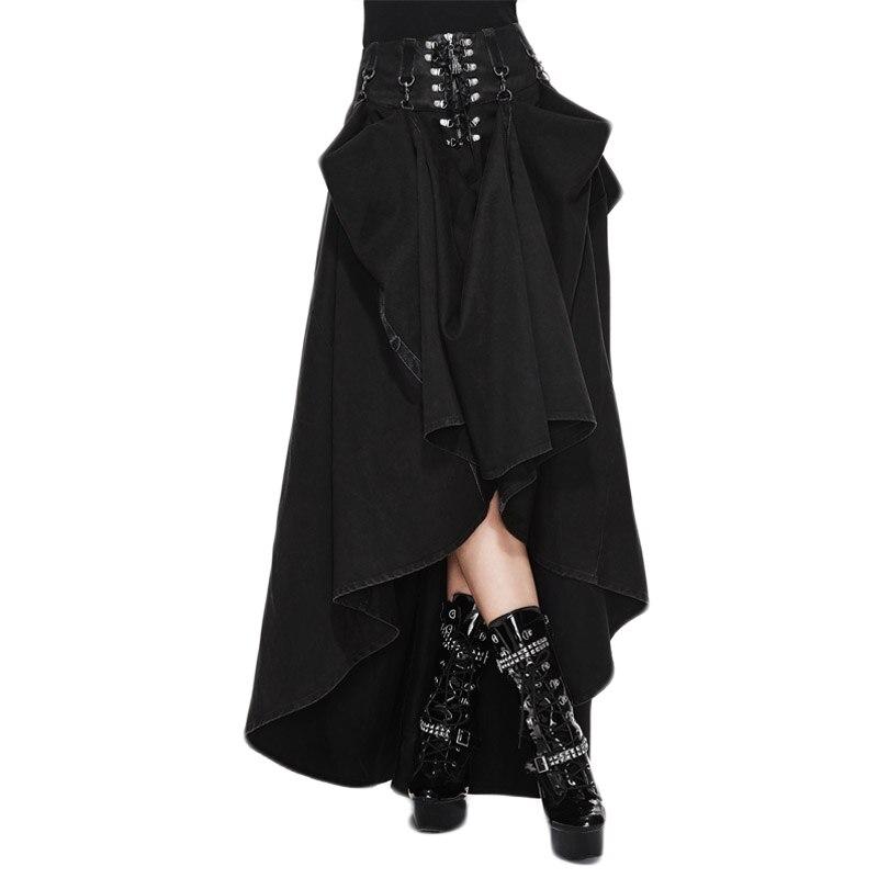 Стимпанк Женская Макси юбка Готический Винтаж по щиколотку Лето Высокая талия Длинные юбки для женщин черный цвет Большие размеры 2017