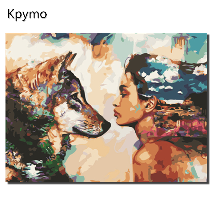 DIY painting by number gift beauty and beast digital oil painting girl and wolf living room