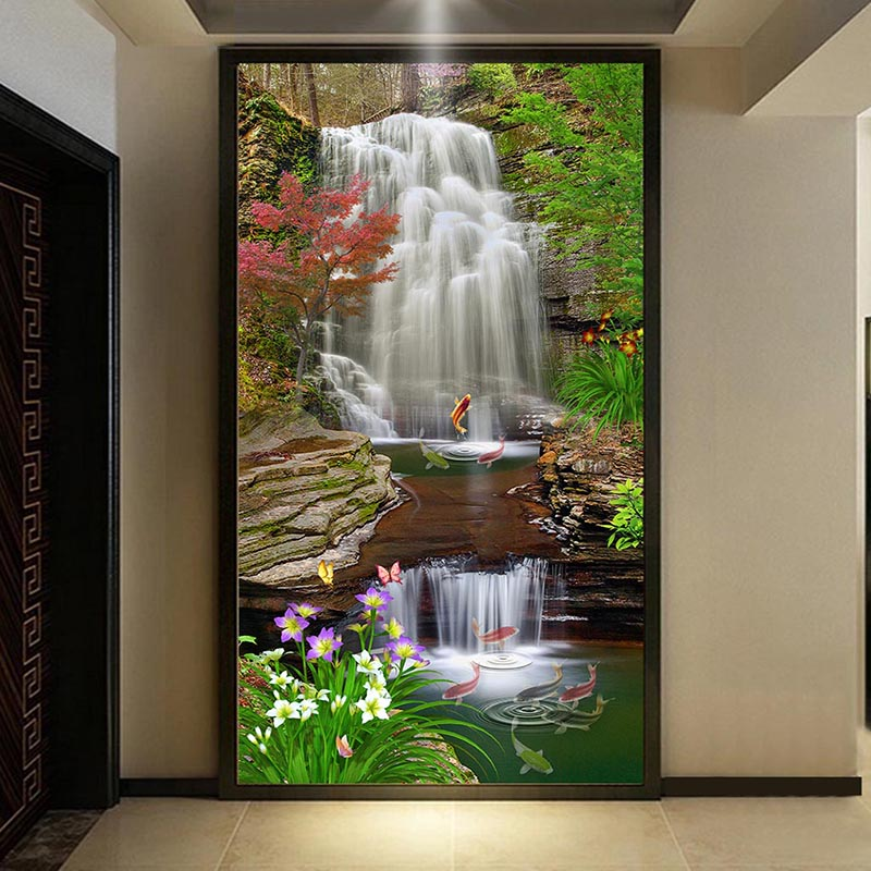 Photo Wallpaper 3D Stereo Classic Waterfalls Forest Carp Nature Landscape Photo Wall Mural Wallpapers Living Room Entrance Decor
