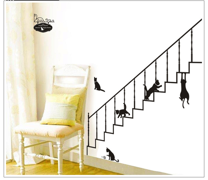 Cute Cat Home Decoration Large Wall Decals Quotes For Kids Rooms Diy Family  Bathroom Kitchen Decor ...