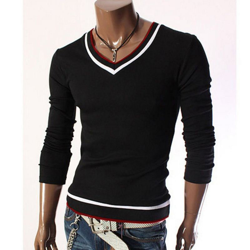 2016 Winter New Fashion Pullover Sweater Men V Neck Knitted Sweater Solid Color Mens Sweaters ...