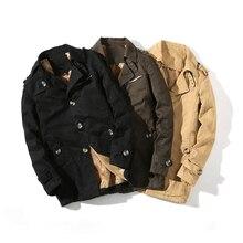 Зимняя Новинка плюс бархатная Толстая Мужская ветровка мужской костюм с длинным разрезом однобортное черное хлопковое пальто больше размеров M-4XL