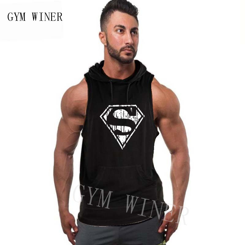 Muscle men Brand Bodybuilding Stringer   Tank     Tops   Hoodies Tanktops Fitness Men gyms Clothing sleeveless shirts with hoodie