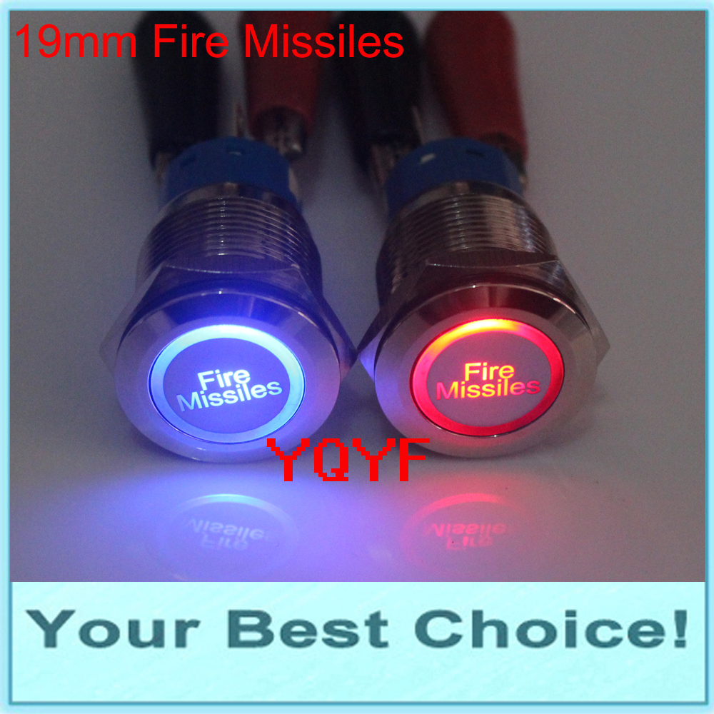 19mm 12v Led Illuminated Fire Missiles Car Push Button Switch In Wiring Setup For Blue 22mm Stainless Steel Momentary