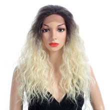Aigemei 150% Density 22 Inch Curly Synthetic Lace Front Wig Heat Resistant Fiber For Women