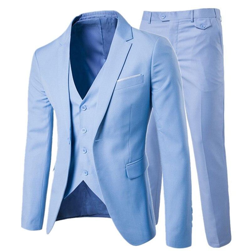 b6fe035864386 Erkek takım elbise 2019 Ince üç-adet damat düğün takım elbise büyük boyutu  6XL düz