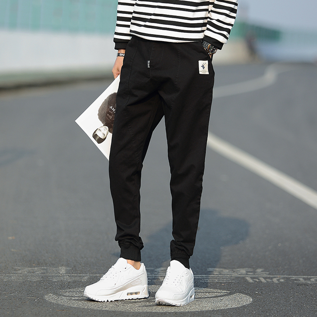2016 New Fashion Mens Straight Cargo Pants Men Casual Slim Fitness spring and Summer Khaki dark blue Trousers  Large Size