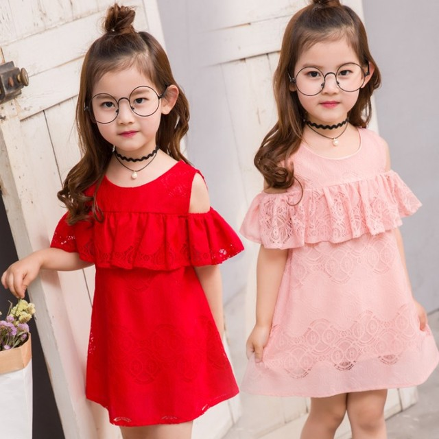 summer child clothes baby girl lace dress off the shoulder dresses children  clothing kids princess dress for party flower girl 32740867f432