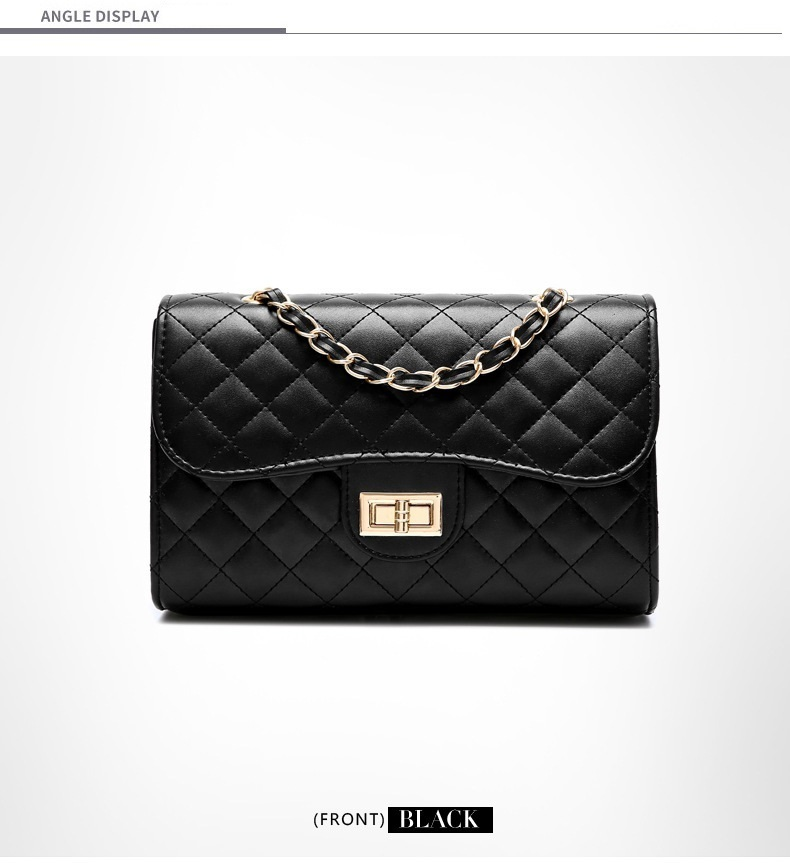 Women PU Leather Crossbody Messenger Chain Plaid Women Mini Black ... 7f0b484ae6585