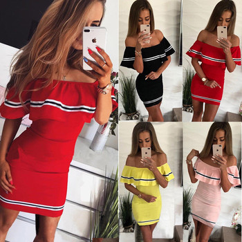 5731eeec1459adf С открытыми плечами Slash шеи сексуальное вечернее платье-футляр женское  модное Полосатое платье с оборками с коротким рукавом летнее платье .
