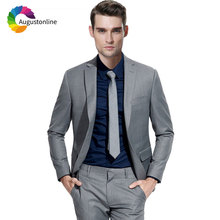 Grey Men Suits Wedding Custom Made Formal Business Best Man Blazer Jacket Pants 2 Piece Terno Masculino Slim Fit Groom Tuxedo