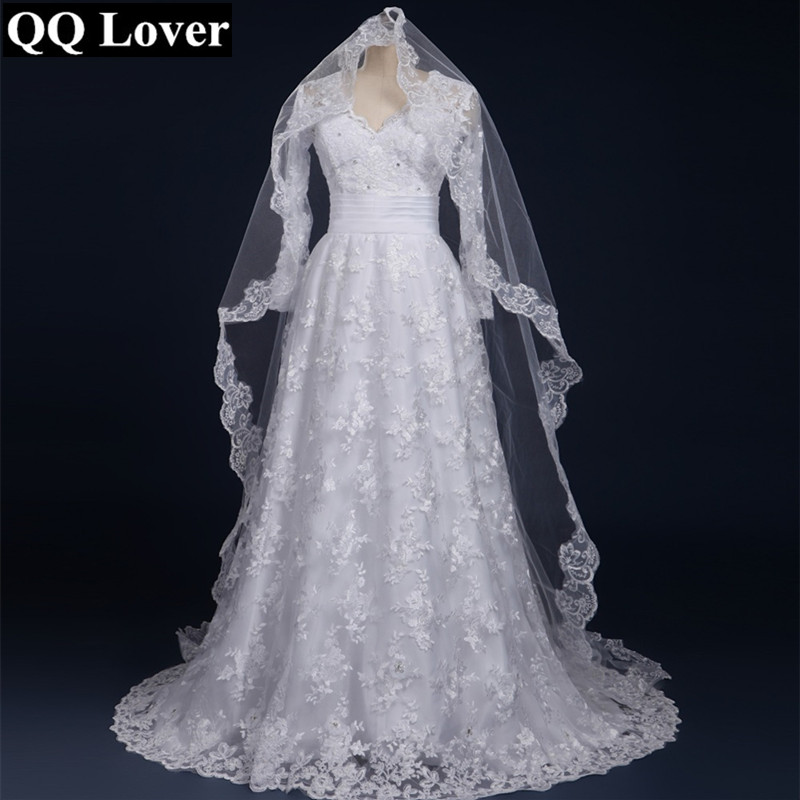 QQ Lover 2018 Sexy Long Sleeves Lace Vestido De Noiva With Veil Custom Made Bridal Gown