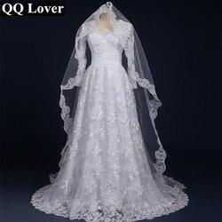 Qq amante 2019 sexy mangas compridas rendas vestido de noiva com véu feito sob medida vestido de noiva