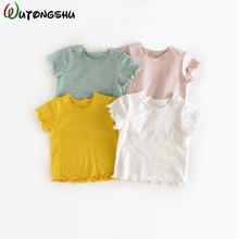 hot deal buy kids tees boys clothes 2019 spring summer solid girls cotton t shirt casual tops tees t-shirts children clothing for 0-4y kid