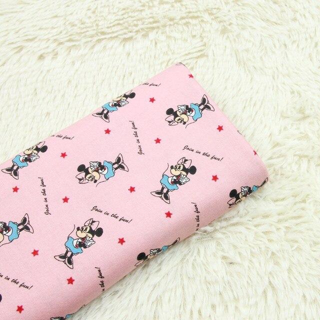 Tissu en sergé 100% coton brossé demi-mètre | Tissu imprimé mickey de dessin animé, robe de vêtement fait à la main pour enfants T547