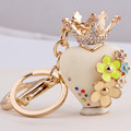 Metal Keyring Crystal perfume bottle Rhinestone Charms Keychains Bag accessories Luxury Creative Jewelry