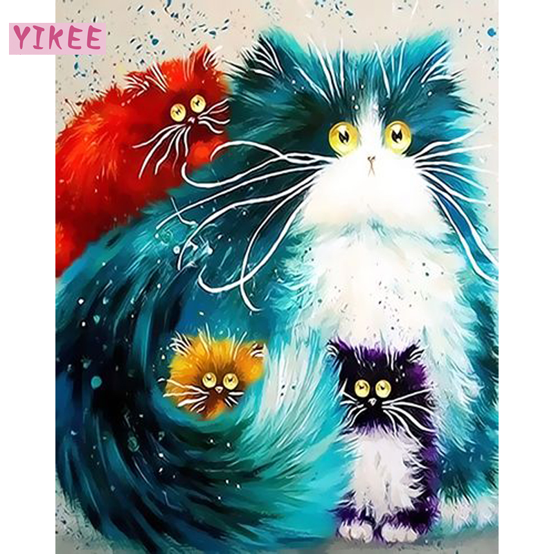 Painting By Numbers Cartoon For Kids,cat Picture Oil Painting,art By Numbers