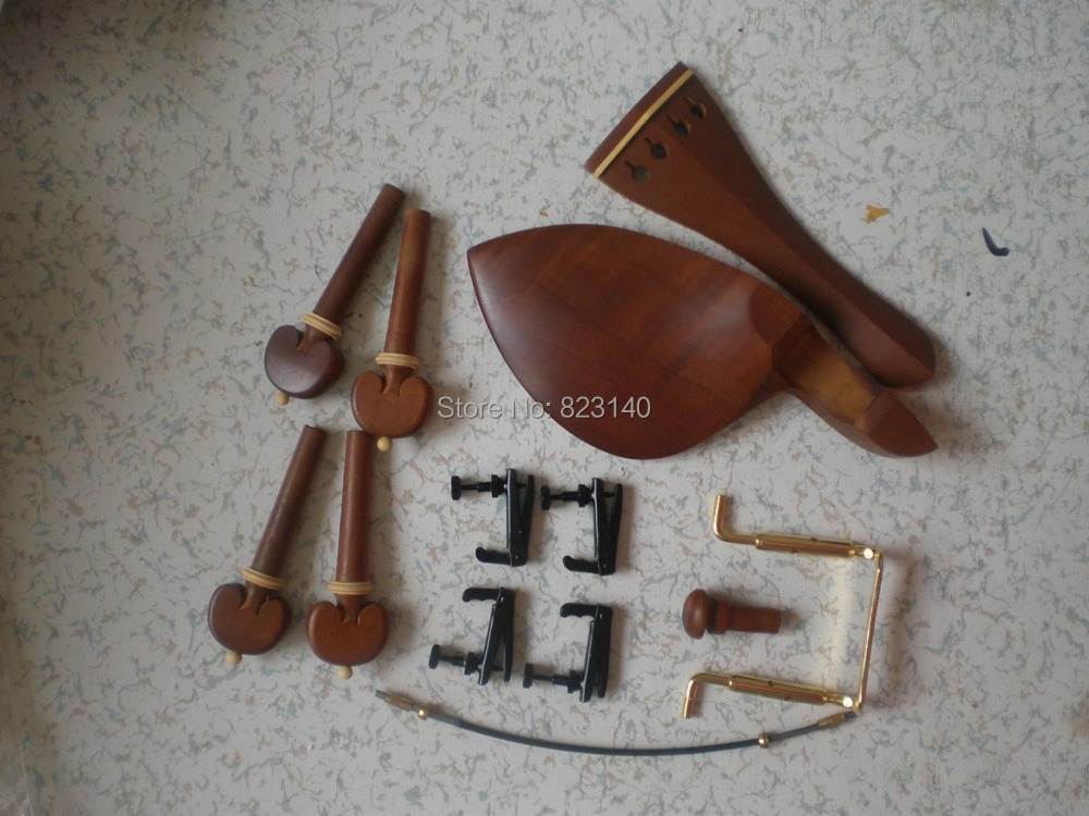 6 Sets JUJUBE WOOD Violin parts 4/4 with BLACK Fine tuner tail gut and gold color china rest clamp6 Sets JUJUBE WOOD Violin parts 4/4 with BLACK Fine tuner tail gut and gold color china rest clamp