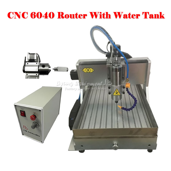BIG working size CNC router 6040 Z-VFD 2.2KW USB 4axis cnc milling machine with water tank for wood metal cnc 5axis a aixs rotary axis t chuck type for cnc router cnc milling machine best quality